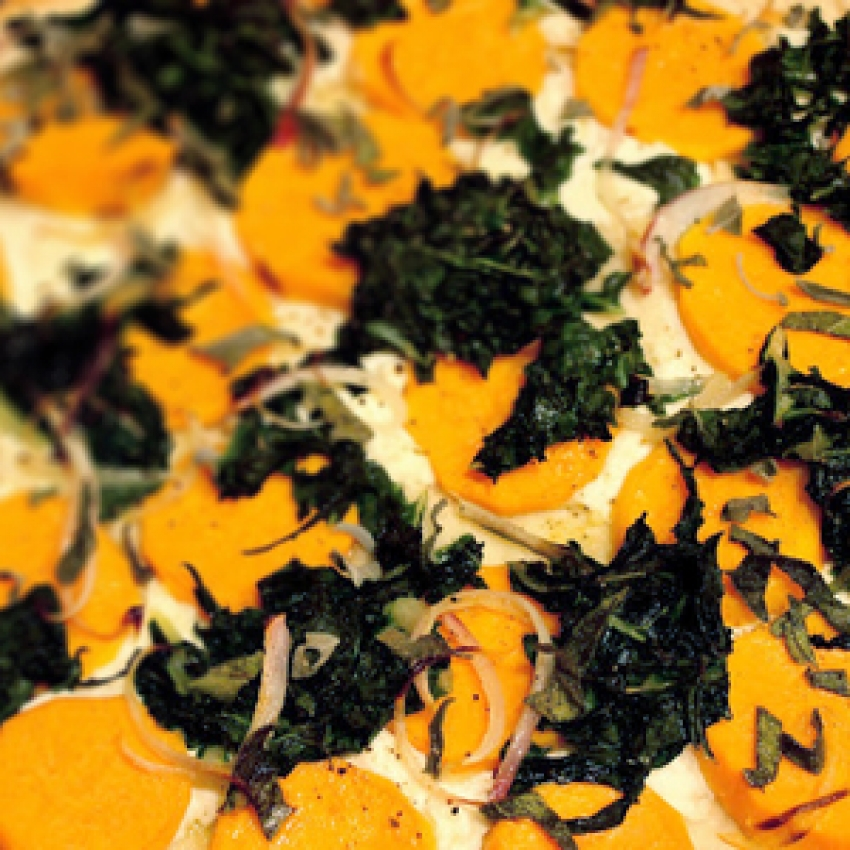 Sweet Potato Flatbread with Sage and Ricotta