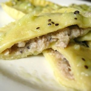 Kiwi Infused Pork Ravioli