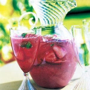Strawberry-Kiwi Sangria with Rose Geranium