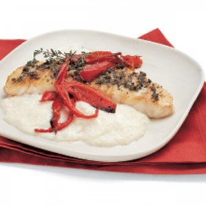 Sea Bass with Polenta and Roasted Red Bell Peppers
