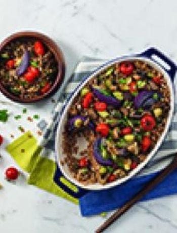 Warm roasted vegetable farro salad