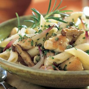 Penne with Chicken, Shiitake Mushrooms, and Capers
