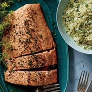 Roasted Side of Salmon with Shallot Cream recipes