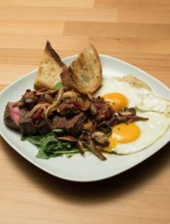 Steak and Mushroom Hash with a Sunny-Side Up Egg