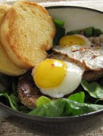 Sausage, Spinach, and Quail Egg Breakfast Salad