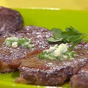 Strip Steaks with a Side of Blue Cheese Spaghetti