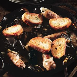Steamed Mussels with Sausages and Fennel