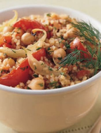 Bulgur Pilaf with Roasted Tomatoes, Onions, and Garbanzo Beans