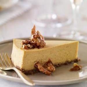 Gluten-Free Pumpkin Cheesecake with Gingersnap-Walnut Crust