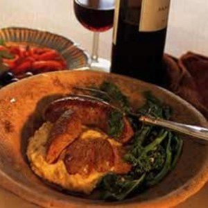 Italian Sausages with Broccoli Rabe and Polenta