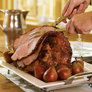 Baked Ham with Mustard-Peach Glaze
